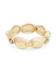 Nanette Lepore Leaf And Stone Accented Stretch Bracelet Gold