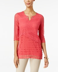 Jm Collection Petite Crochet Keyhole Tunic Only At Macy's Perfect Rose