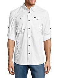 Buffalo David Bitton Shaun Woven Cotton Casual Button Down Shirt White