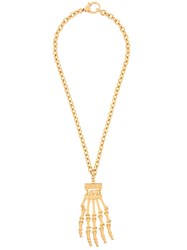 Moschino Skeleton Hand Necklace Metallic