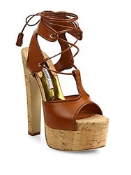 Brian Atwood Brittany Leather Lace Up Cork Platform Sandals