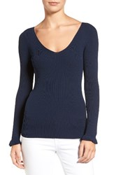 Chelsea 28 Women's Chelsea28 Ribbed V Neck Sweater Navy Blazer