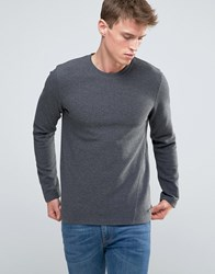 Esprit Sweatshirt In Ribbed Marl Dark Grey