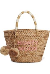 Kayu St Tropez Mini Pompom Embellished Embroidered Woven Straw Tote Sand