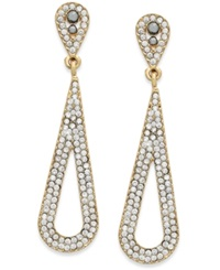 Inc International Concepts Gold Tone Crystal Pave Long Teardrop Earrings