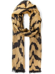 Roberto Cavalli Zebra Print Scarf Yellow And Orange