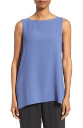 Eileen Fisher Women's Long Bateau Neck Silk Shell Blue Angel