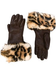 Herma S Vintage Leopard Print Gloves Brown