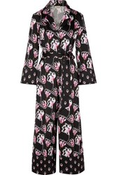 Temperley London Dragonfly Cropped Printed Satin Jumpsuit Black