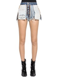 Unravel Reversible Cotton Denim Shorts Light Blue