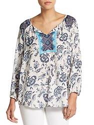 Beach Lunch Lounge Printed Hi Lo Peasant Top Purple Multi