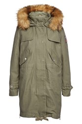 True Religion Cotton Parka With Faux Fur Trimmed Hood Gr. S