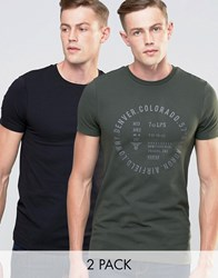 Asos Muscle T Shirt 2 Pack With Mixed Print And Plane Save 15 Army Green Black Multi