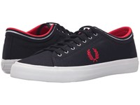 Fred Perry Kendrick Tipped Cuff Canvas Navy Red White Men's Lace Up Casual Shoes Blue