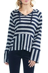 Vince Camuto Hooded Stripe Sweater Classic Navy