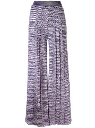 Missoni Knitted Palazzo Trousers Pink Purple