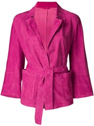 Sylvie Schimmel Tie Waist Jacket Pink And Purple