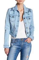 Romeo And Juliet Couture Embroidered Denim Jacket Blue