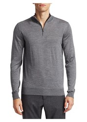 Saks Fifth Avenue Collection Wool And Silk Zip Sweater Grey