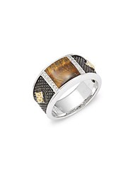 Effy 925 Sterling Silver And 18K Yellow Gold Diamond Ring