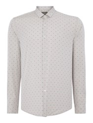 Peter Werth Whitworth Textured Slim Fit Long Sleeve Button Do Grey