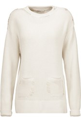 Nina Ricci Embroidered Ribbed Cotton And Silk Blend Sweater Cream