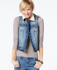 Inc International Concepts Faux Shearling Cropped Denim Vest Mid Indigo Wash Only At Macy's