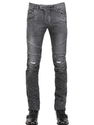 Balmain 18Cm Degrade' Knee Wash Denim Biker Black