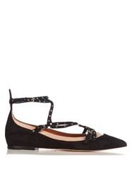 Valentino Love Latch Suede And Leather Flats Black Nude