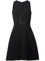Yigal Azrouel Lace Up Front Dress Black