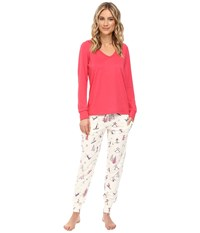 Bedhead French Terry Long Sleeve Hoodie And Jogger Pants Set Pink Ski Bunnies Women's Pajama Sets White