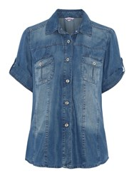 Persona Plus Size Short Sleeved Denim Shirt Blue