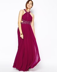 Forever Unique Abba Halter Maxi Dress With Embellishment Wine
