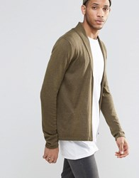 Asos Open Shawl Cardi In Merino Wool Mix Military Green