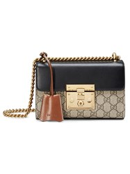 Gucci Padlock Gg Supreme Shoulder Bag Women Leather Canvas Metal Microfibre One Size Brown