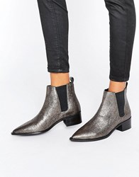 Office Agave Pewter Leather Chelsea Boots Pewter Leather Silver