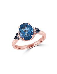Effy Ocean Bleu London Blue Topaz Diamond And 14K Rose Gold Ring