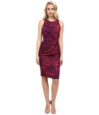 Badgley Mischka Side Pleated Sheath Orchid Multi Women's Dress