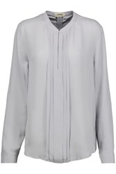 L'agence Lauren Pintucked Silk Georgette Blouse Stone