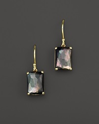 Ippolita 18K Gold Rock Candy Gelato Single Rectangle Drop Earrings In Black Shell