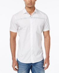 Inc International Concepts Men's Reflex Reflective Stripe Short Sleeve Shirt Only At Macy's White Pure