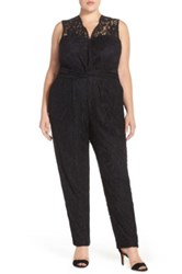 Eloquii V Neck Lace Jumpsuit Plus Size Black