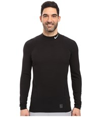 Nike Pro Warm Mock Long Sleeve Training Top Black Dark Grey White Men's Clothing