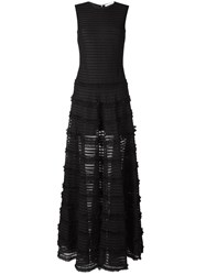 Givenchy Ruffle Trim Sheer Stripe Evening Gown Black