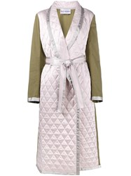 Walk Of Shame Quilted Cotton And Satin Coat Green