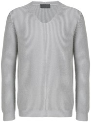 Iris Von Arnim Long Sleeve Fitted Sweater Grey