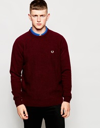 Fred Perry Crew Neck Jumper In Wool Maroon