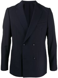 Officine Generale Double Breasted Jacket Blue