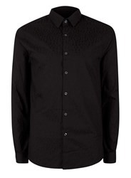 Topman Black Leopard Print Jacquard Slim Fit Dress Shirt