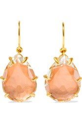 Larkspur And Hawk Caterina Gold Dipped Quartz Earrings Peach